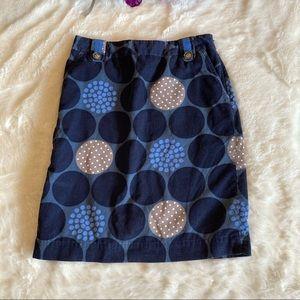 Boden Blue Polka Dot Corduroy Skirt Sz 6 LONG